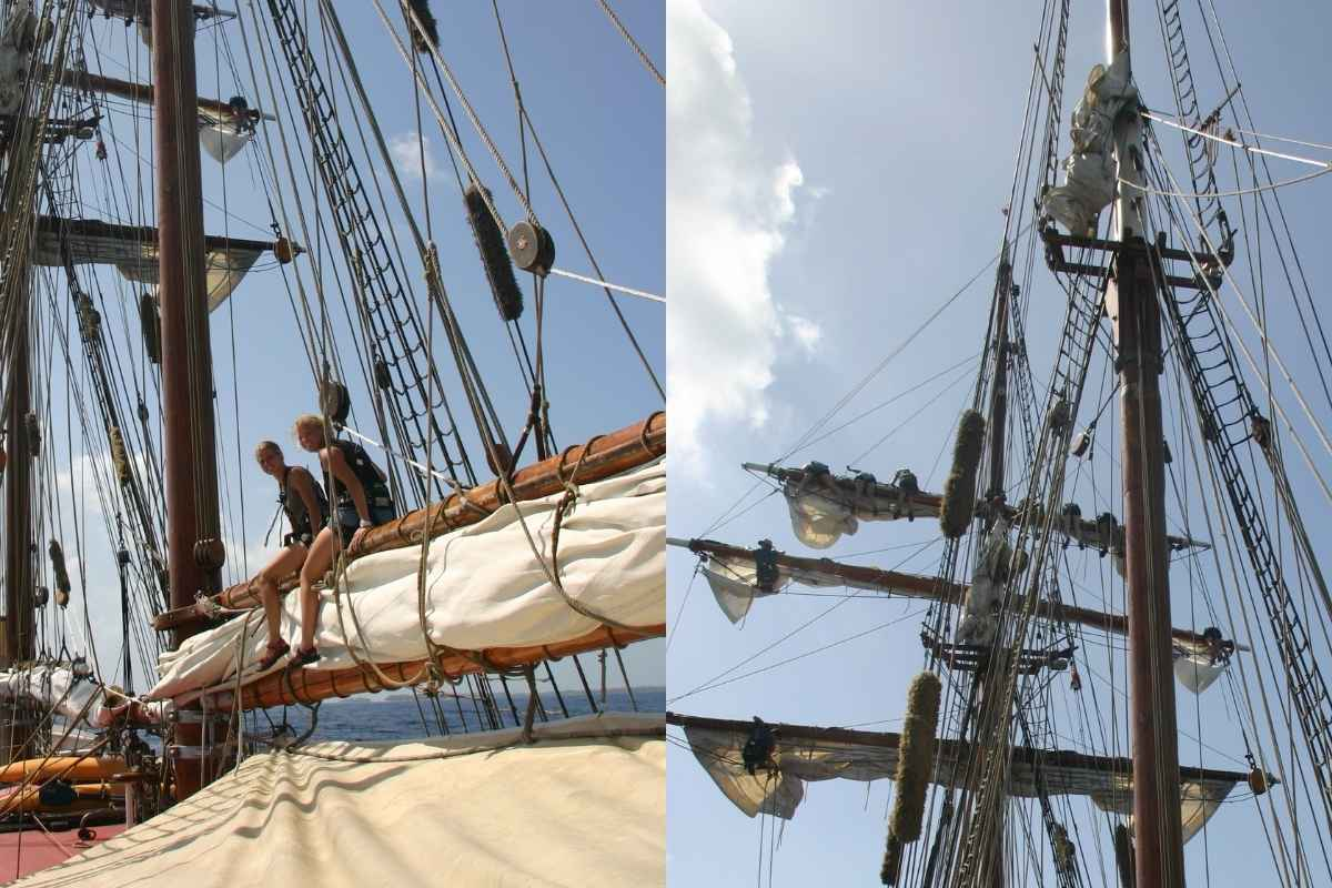 Sailing ship deck and masts