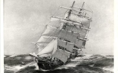 Sailing a square rigged ship to windward.